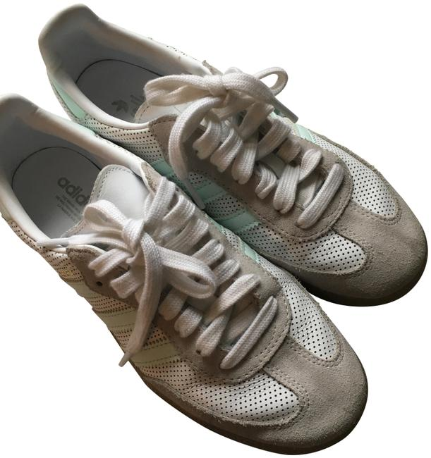 Item - White/Tan Mint Green Samba Perforated Leather/Suede Sneakers Size US 6 Regular (M, B)