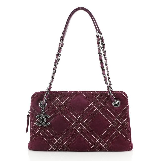 Item - Saltire Stitched Small Purple Suede Leather Shoulder Bag