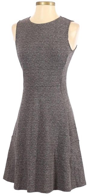 Item - Gray Seamed Speckle Knit Fit-&-flare Mid-length Cocktail Dress Size 4 (S)