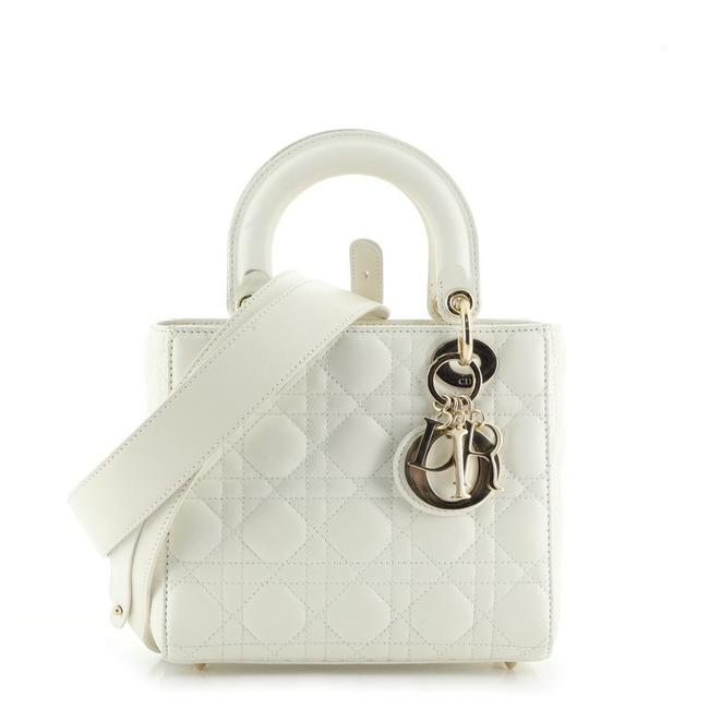 Item - My Lady Cannage Quilt White Lambskin Leather Tote