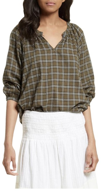 Item - Green Wildflower Plaid Blouse Size 6 (S)