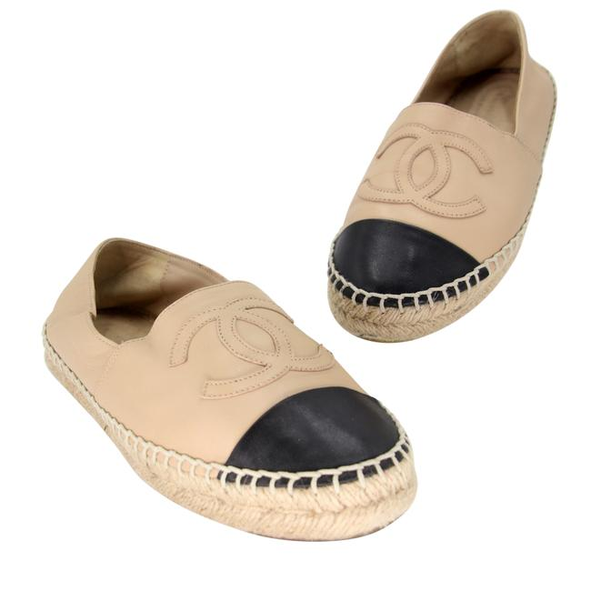 Item - Brown Cc Leather Cap Toe Espadrille Lambskin Double Stacked Flats Size US 7 Regular (M, B)