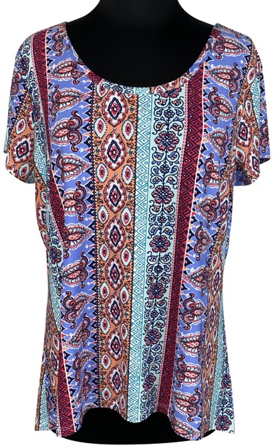 Item - Multicolor XL Ladies-xl Patterned Short-sleeve Back Accent Casual Tee Shirt Size 16 (XL, Plus 0x)