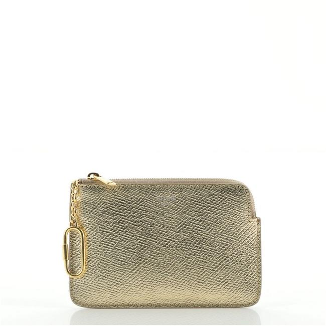 Item - Coin Zip Pouch Gold Metallic Leather Clutch