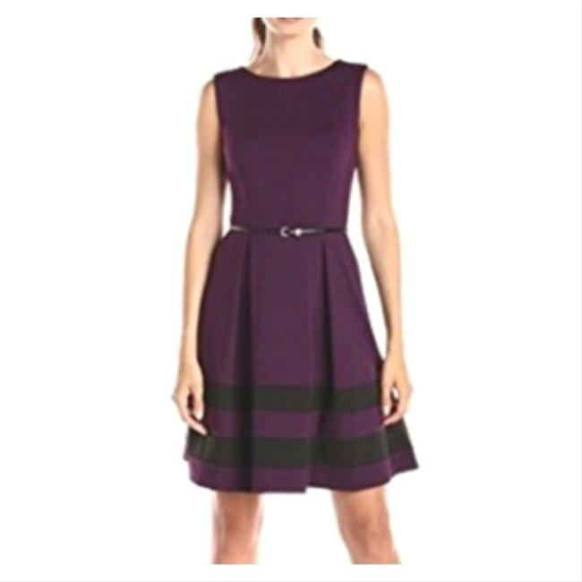 Item - Burgundy Sleeveless Striped Fit & Flare Mid-length Work/Office Dress Size Petite 4 (S)