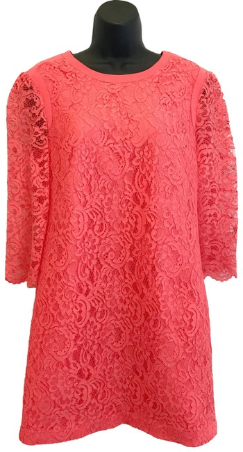 Item - Coral Pink Lace Shift Short Casual Dress Size 6 (S)