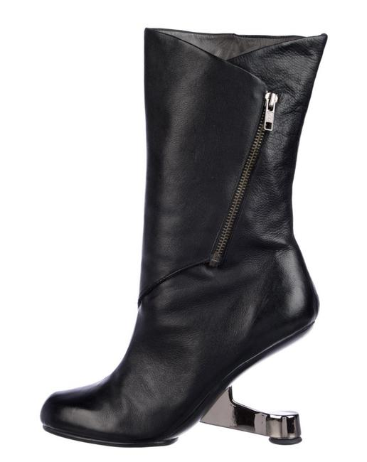 Item - Black Leather Mid-calf Boots/Booties Size US 9 Regular (M, B)