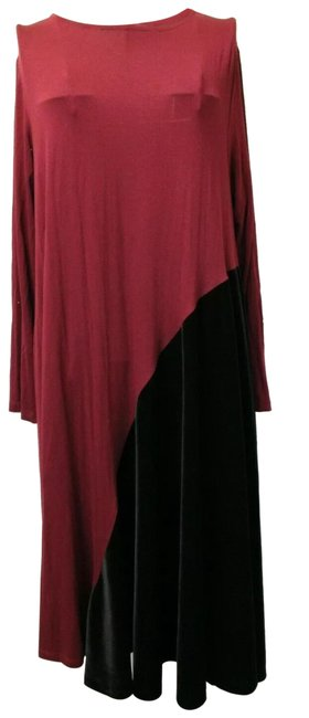 Item - Red/Black Asymmetrical Velvet Tent Long Casual Maxi Dress Size 12 (L)