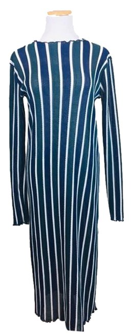 Item - Blue Striped Long Sleeve Knit Midi Stretch S Mid-length Casual Maxi Dress Size 6 (S)
