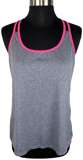 Item - Multicolor M Gray Heathered Pink-trim Mesh Like Holes Back Activewear Top Size 8 (M)