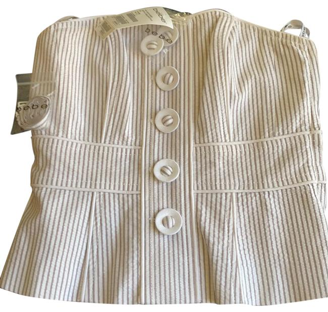 Item - Ruffle Peblum Button Bustier White and Grey Stripes Top