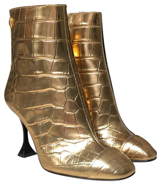 Item - Gold Calfskin Crocodile Embossed Cap Toe Ankle Boots/Booties Size US 6 Regular (M, B)