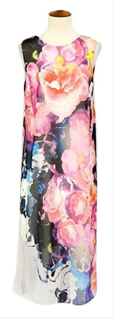 Item - Pink Sleeveless Floral Chiffon Mid-length Work/Office Dress Size 4 (S)