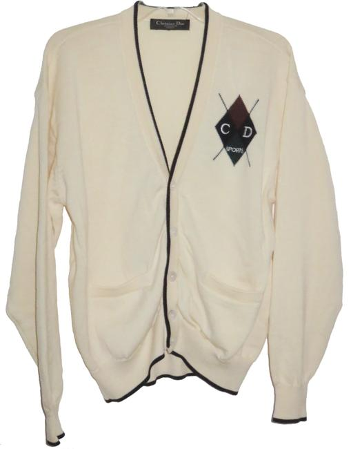 Item - Creme / Off White Cd Monsieur Sports Knitted Vintage Abalone Buttons Cardigan Size OS (one size)
