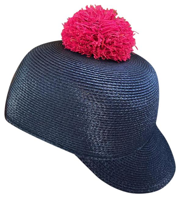 Item - Navy Red Woven with Pompom Hat