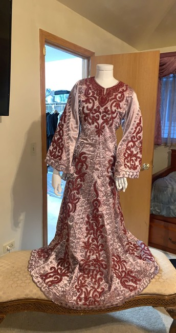 Item - Rose Pink Red and Silver Fabric Silk Thob Traditional Wedding Dress Size 6 (S)