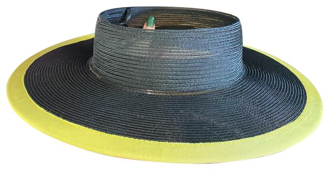 Item - Black Neon Lime Rounded Woven with Trim Hat