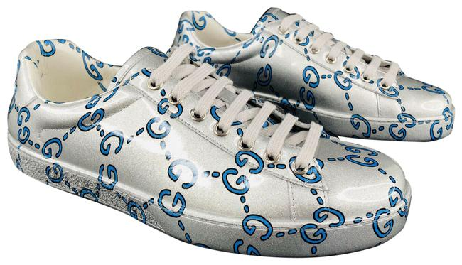 Item - Silver New Ace Gg Ghost Miro Rubber Wax Sneakers Size US 6.5 Regular (M, B)