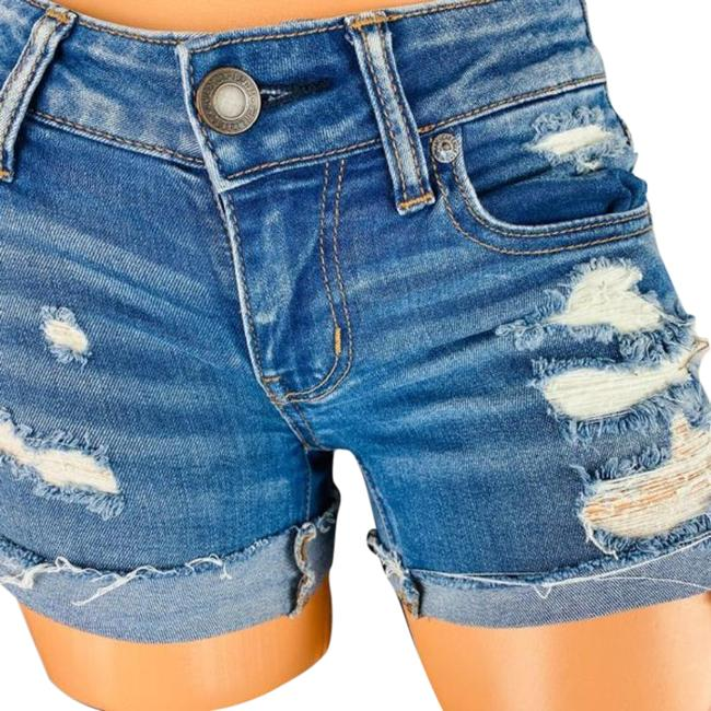 Item - Blue Rolled Super Low Jean Shorts Size 0 (XS, 25)