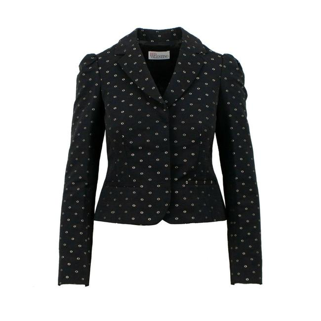 Item - Black Floral Embroidered Ruffle 2/40 Blazer Size 2 (XS)