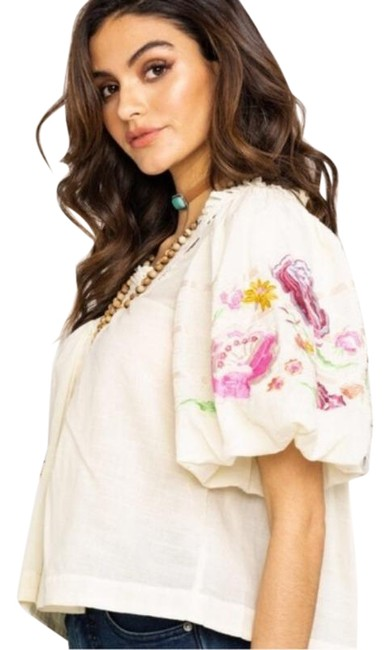 Free People Ivory Bohemia In Blouse Size 2 (XS) Free People Ivory Bohemia In Blouse Size 2 (XS) Image 1