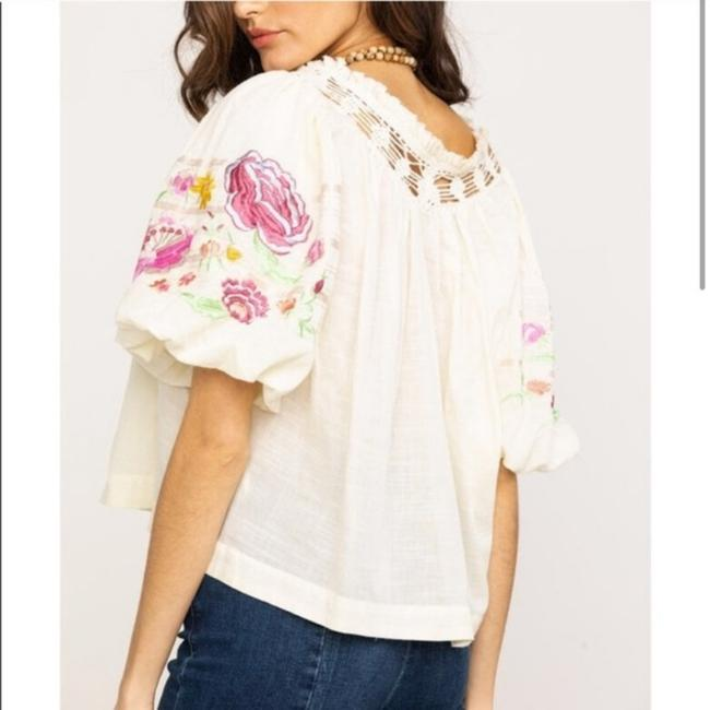 Free People Ivory Bohemia In Blouse Size 2 (XS) Free People Ivory Bohemia In Blouse Size 2 (XS) Image 2