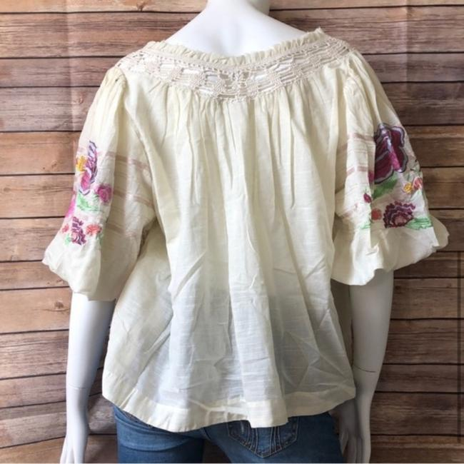 Free People Ivory Bohemia In Blouse Size 2 (XS) Free People Ivory Bohemia In Blouse Size 2 (XS) Image 3