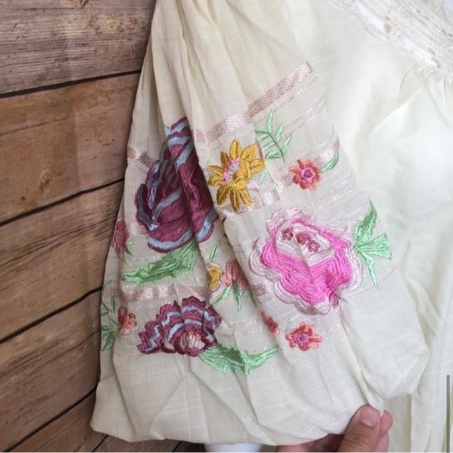 Free People Ivory Bohemia In Blouse Size 2 (XS) Free People Ivory Bohemia In Blouse Size 2 (XS) Image 5