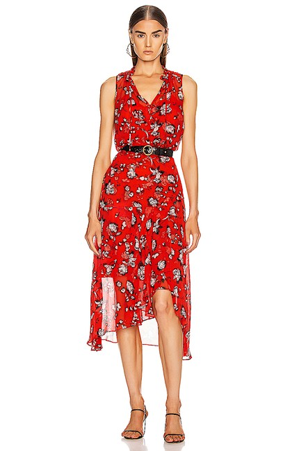 Item - Red Multi with Tag Corsica Floral Print Midi Mid-length Cocktail Dress Size 4 (S)