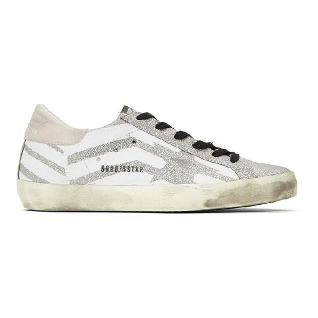 Golden Goose Deluxe Brand Silver Superstar Distressed Glittered Leather Flag Sneakers Size EU 39 (Approx. US 9) Regular (M, B) Golden Goose Deluxe Brand Silver Superstar Distressed Glittered Leather Flag Sneakers Size EU 39 (Approx. US 9) Regular (M, B) Image 1