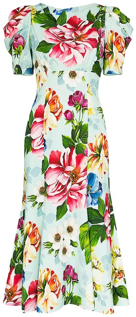 Item - Multi New with Tag Short-sleeved Floral-print Cady Midi Mid-length Cocktail Dress Size 12 (L)