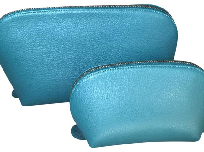 Item - Jade Teal Leather Travel Case Set Cosmetic Bag