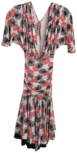 Item - Black/ Red/ Multi Color Sexy Open Silk Mid-length Night Out Dress Size 0 (XS)