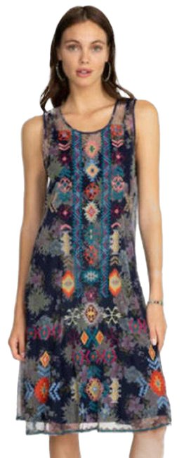 Item - Multicolor Johnny Was Olabisi Mesh Midi Embroidered Mid-length Casual Maxi Dress Size 2 (XS)
