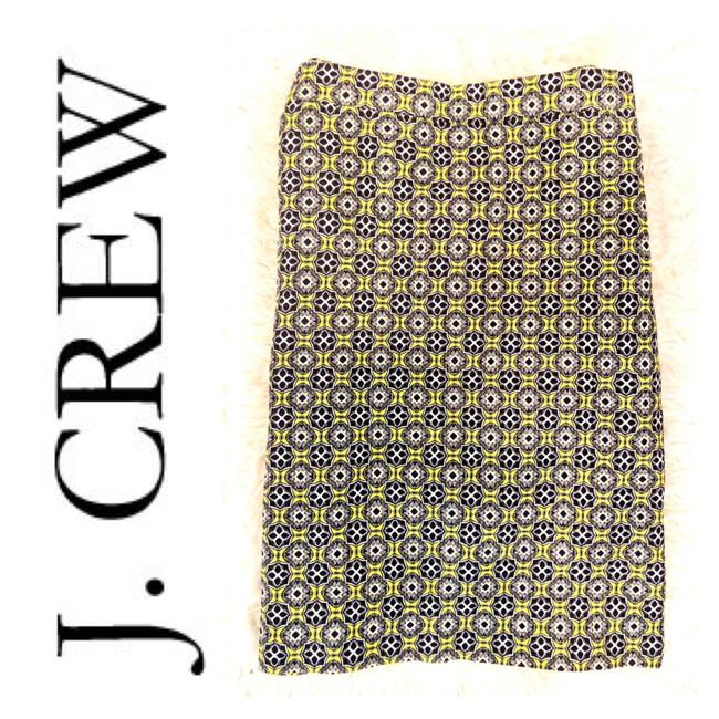 Item - Yellow Black Navy The Pencil Patterned S8 Skirt Size 8 (M, 29, 30)