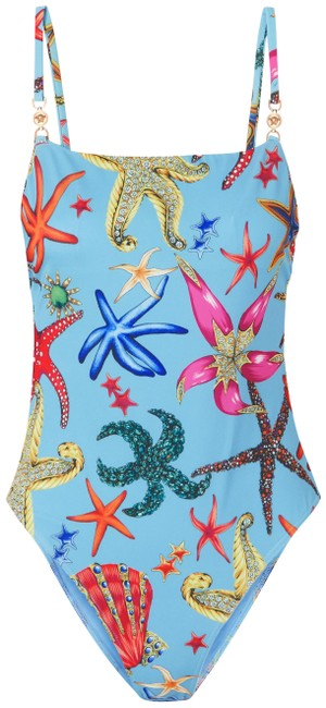 Item - Blue Embellished Printed Swimsuit One-piece Bathing Suit Size 4 (S)