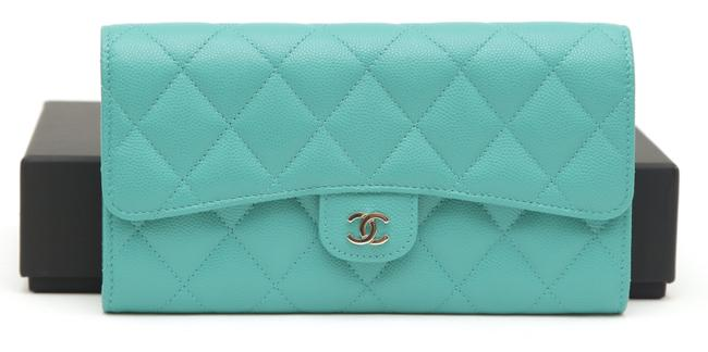 Item - Turquoise Caviar Leather Long Flap Silver-tone Cc Hw Wallet