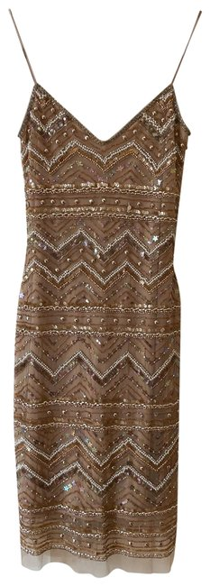 Item - Champagne Beaded Short Cocktail Dress Size 4 (S)