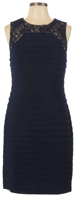 Item - Blue Layered Lace Sheath Navy Short Cocktail Dress Size 10 (M)