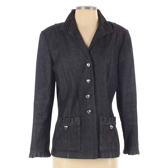Item - Gray Heart Button Ruffle Trimming Cotton Small Jacket Size 6 (S)