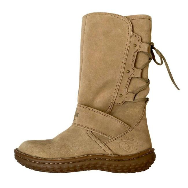 Item - Beige Suede Leather Shearling Mocassin Style Lace Up Boots/Booties Size US 5 Regular (M, B)