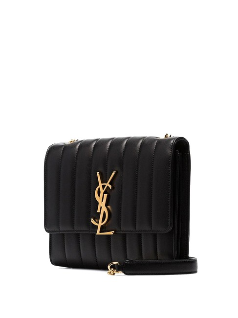 Item - Wallet on Chain Vicky Black and Gold Lambskin Leather Cross Body Bag