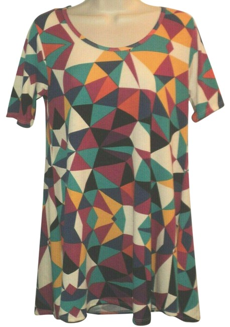 Item - Cream Gold Red Blue Orange Runs Larger Than An Xxs Geometric Short Sleeves Tunic Size 00 (XXS)