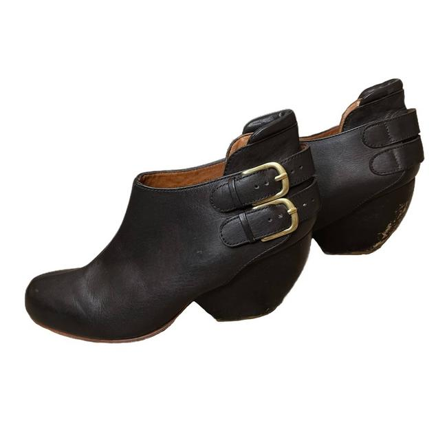 Item - Black Leather Barbaro Wooden Heel Ankle Boots/Booties Size US 8 Regular (M, B)