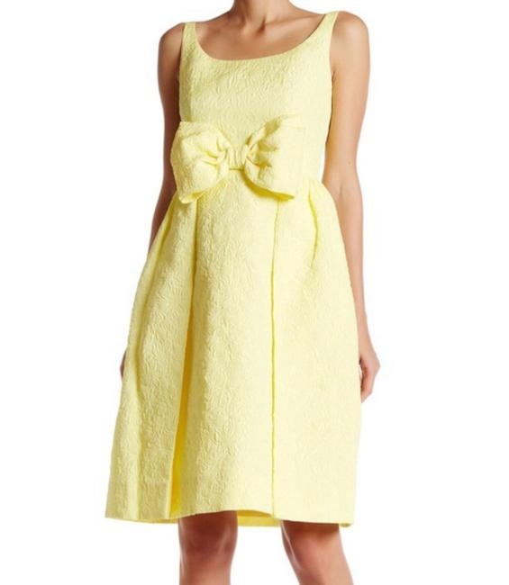 Item - Yellow Tavor Jacquard Floral Bow Mid-length Cocktail Dress Size 4 (S)