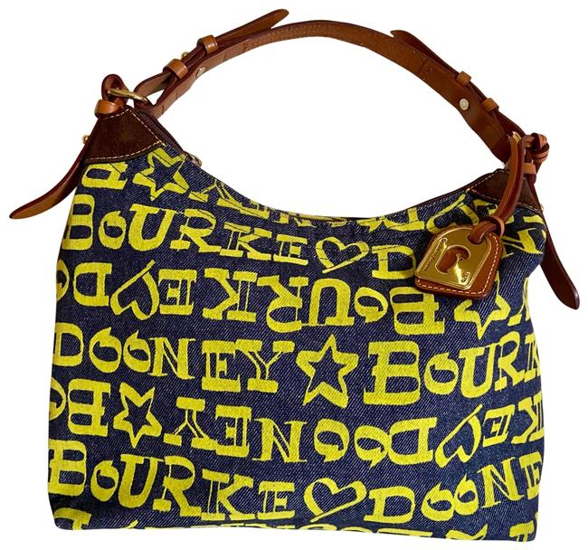 Item - And Blue with Yellow Prints Denim Satchel