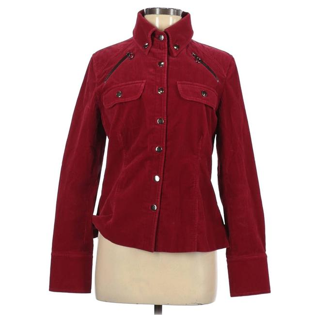 Item - Red Corduroy Zipper Accents Button Up Women's Jacket Size 6 (S)