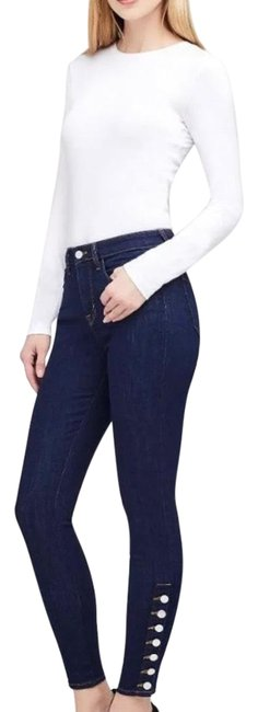 Item - Rinse Dark High Piper Button Placket Skinny Jeans Size 00 (XXS, 24)