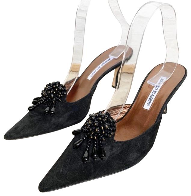 Item - Black For Neiman Marcus Pointed Toe Kitten Heel Sued Mules/Slides Size US 9.5 Regular (M, B)