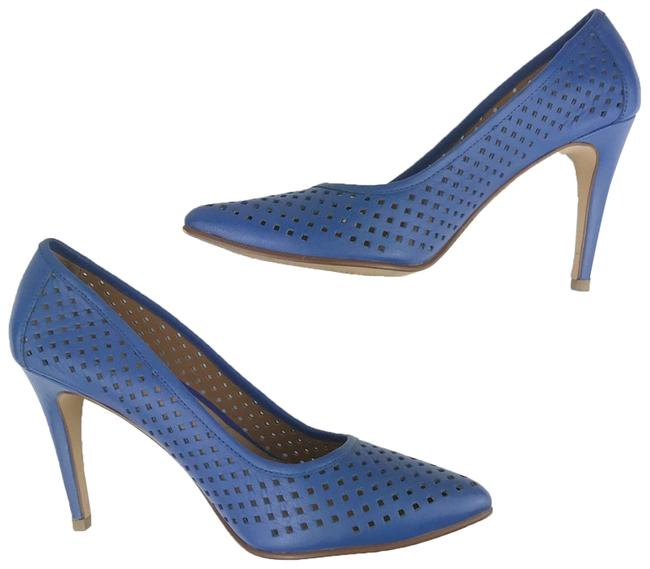 Item - Blue Pointed Toe Perforated Heels Pumps Size US 6.5 Regular (M, B)